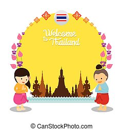 タイ, フレーム, 子供, 歓迎