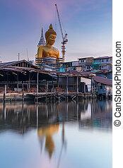 タイ, 仏, 日没, 像, 大きい