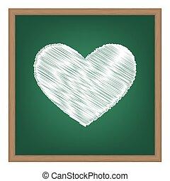 タイ, 印。, 白, チョーク, 効果, 上に, 緑, 学校, board.