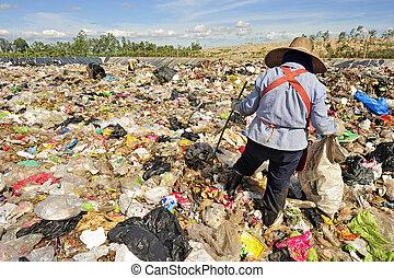 タイ, 国内, ごみ, 山