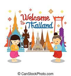 タイ, 子供, 歓迎, sawasdee