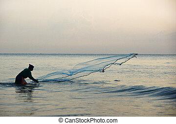 タイ, 網, 釣り, 人, 投球