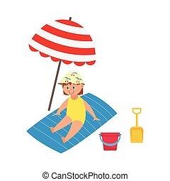 タオル, 子供, イラスト, 傘, 平ら, 浜, 隔離された, 漫画, ベクトル, 下に