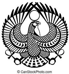 タカ, シンボル, 黒, 白, horus