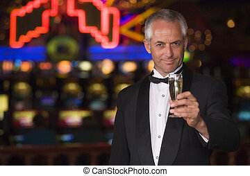 タキシード, 飲むこと, カジノ, シャンペン, 人