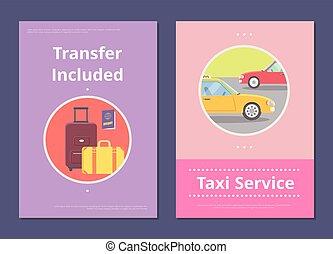 タクシー, サービス, 移動, ホテル, included, ポスター