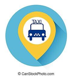 タクシー, サービス, 自動車, ボタン, 適用, 本, アイコン