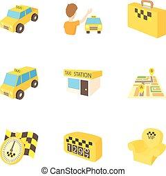 タクシー, スタイル, アイコン, セット, 乗車, 漫画