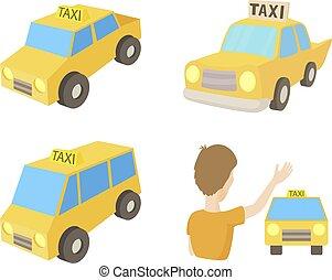 タクシー, スタイル, セット, 自動車, 漫画, アイコン