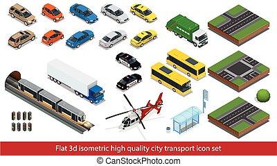 タクシー, セット, 高く, 通り, 品質, 輸送, 都市, 等大, 列車, ミキサー, 3d, 平ら, 道, 警察, イラスト, セダン, ambulance., アイコン, 建物, ミニ, 自動車, 市街電車, ベクトル, トラック, 地下鉄, セダン, ヘリコプター