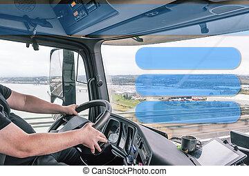 タクシー, トラック, あなたの, driving., 内部, 運転手, use., テンプレート, 準備ができた, 間
