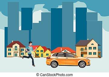 タクシー, ビジネスマン, 急ぎ, 出発