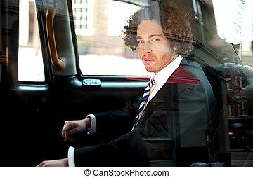 タクシー, ビジネス, 中, 経営者, タクシー, 痛みなさい