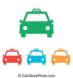 タクシー, 印。, セット, colorfull
