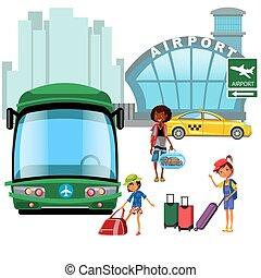 タクシー, 家族, 準備ができた, 飛行機, 輸送, 移動, 待つこと, 公衆, 幸せ, 彼の, 飛行, イラスト, kepp, 乗客, 子供, のように, 手荷物, 自動車, 空港, ベクトル, バス, 母, 交通機関