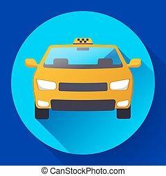 タクシー, 平ら, 自動車, イラスト, ベクトル, デザイン, アイコン