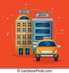 タクシー, 建物, ホテル, サービス, 輸送