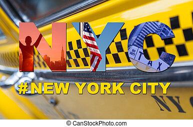 タクシー, 旅行, タクシー, 観光客, 都市, ヨーク, 新しい