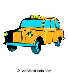 タクシー, 漫画, 黄色, アイコン