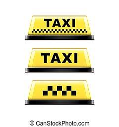 タクシー, 白, ベクトル, 隔離された, 印