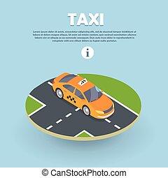 タクシー, 網, 等大, banner., ベクトル, 部分, 道