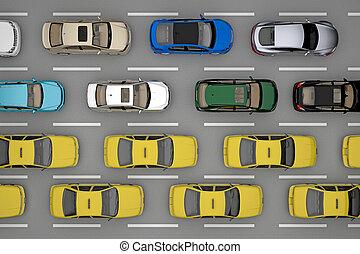 タクシー, 自動車, 上, 交通, 背景, 道, 光景