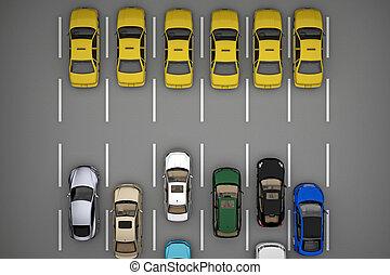 タクシー, 自動車, 交通, 残り, 前方に