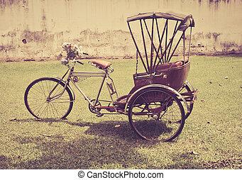タクシー, 自転車, 三輪車, 荷車引き, -, 3, 伝統的である, 人力車, アジア人, クラシック, タイ, tourists., 古い, 支部, 人々