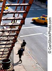 タクシー, 都市, 角度, 火, 黄色, 高く, ヨーク, 脱出, 光景, タクシー, 新しい