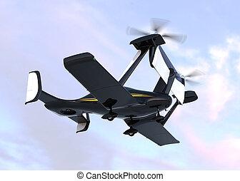 タクシー, 飛行, 自治, 概念, 無人機
