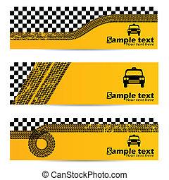 タクシー, 3, セット, 旗, タイヤ