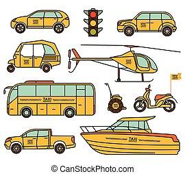 タクシー, illustration., アイコン, set., ベクトル, 線