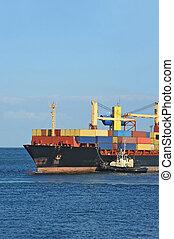 タグボート, 援助, コンテナ船, 貨物
