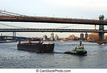 タグボート, 船の 容器, 引き