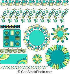 タグ, ベクトル, 花, カラフルである, trims