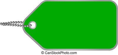タグ, 緑, ボール紙, ブランク