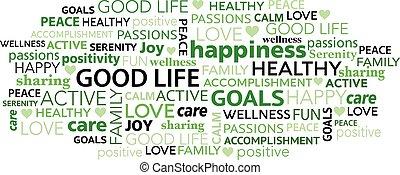 タグ, 雲, よい, 単語, 生活, positivity