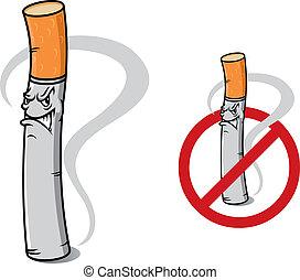 タバコ, いいえ, 印, 喫煙, 危険