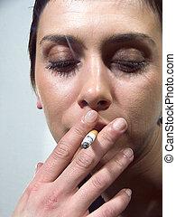 タバコ, クローズアップ, 女