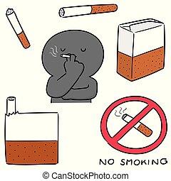タバコ, ベクトル, セット