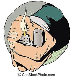 タバコ, 株, lighter., illustration., 手