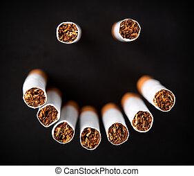 タバコ, 顔, smiley, 作られた