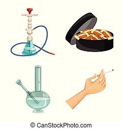 タバコ, illustration., タバコ, 株, ニコチン, ベクトル, シンボル。, オブジェクト, 隔離された, セット