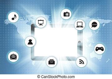 タブレットの pc, ∥で∥, アイコン, 上に, 技術, 背景