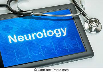 タブレット, ∥で∥, ∥, 医療の捺印証書, 神経学, 上に, ∥, ディスプレイ