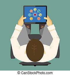 タブレット, コンピュータ, seo, infographics