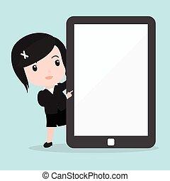 タブレット, スクリーン, 女性の指すこと, ビジネス