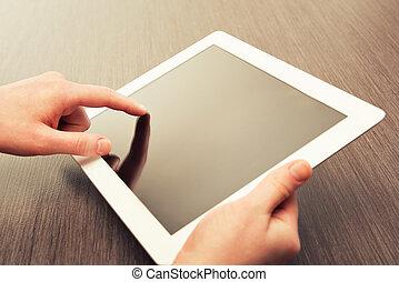 タブレット, スクリーン, 手, ブランク, テーブル, 白