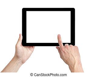 タブレット, スクリーン, pc, 成人の手, 使うこと, 白, 人