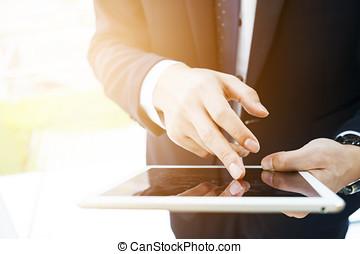 タブレット, デジタル, の上, 手, 使うこと, 終わり, マレ